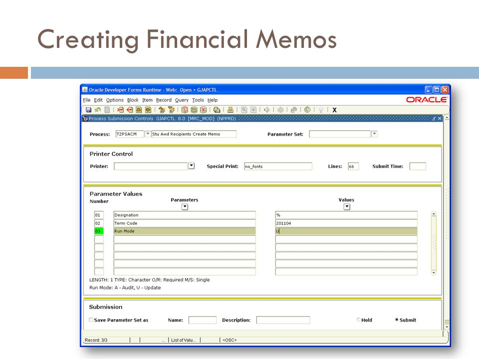 Creating Financial Memos