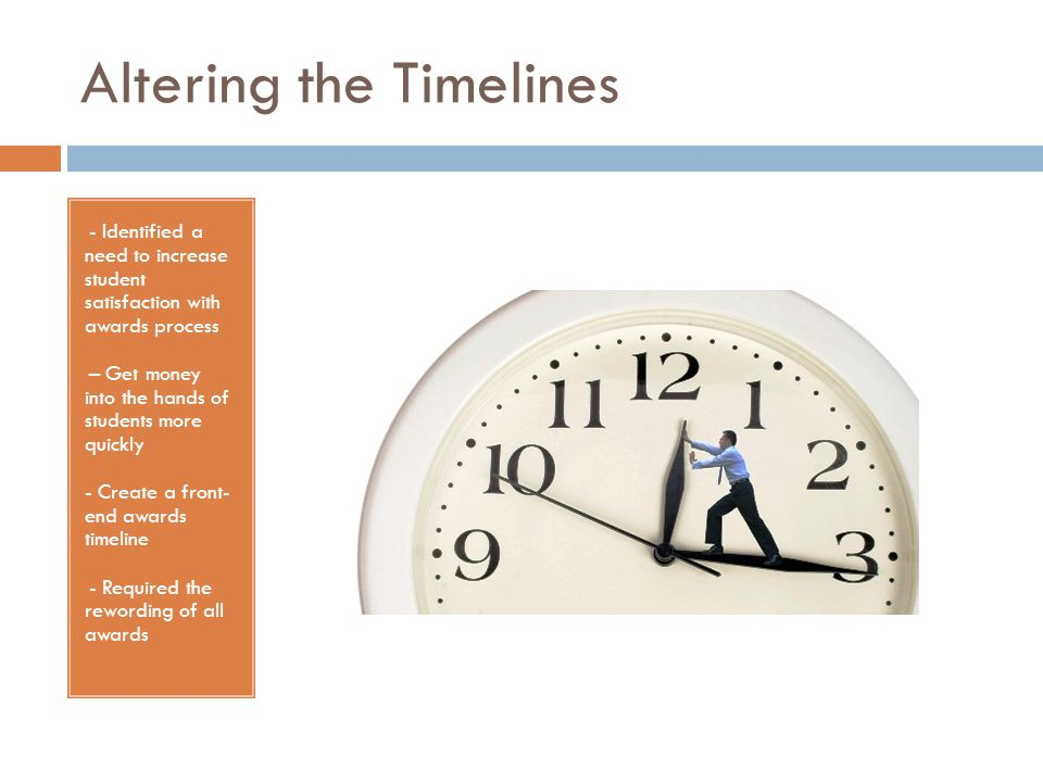 Altering the Timelines - - Identified a need to increase student satisfaction with awards process - – Get money into the hands of students more quickly - Create a front- end awards timeline - - Required the rewording of all awards