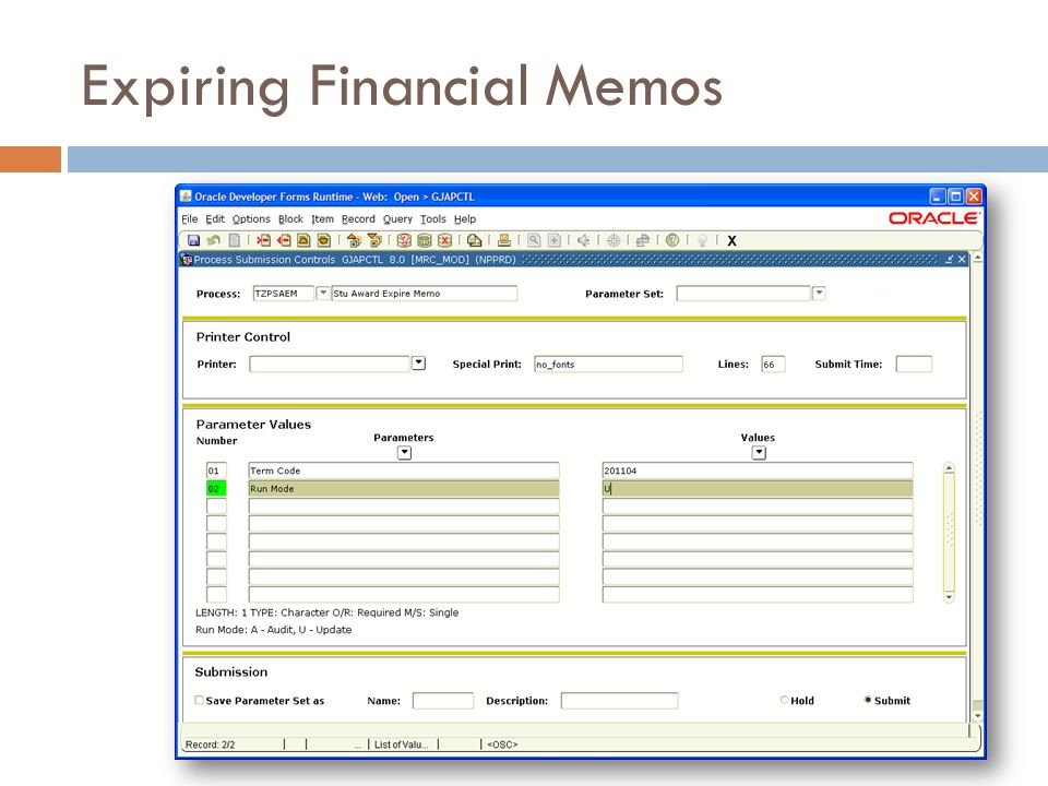 Expiring Financial Memos