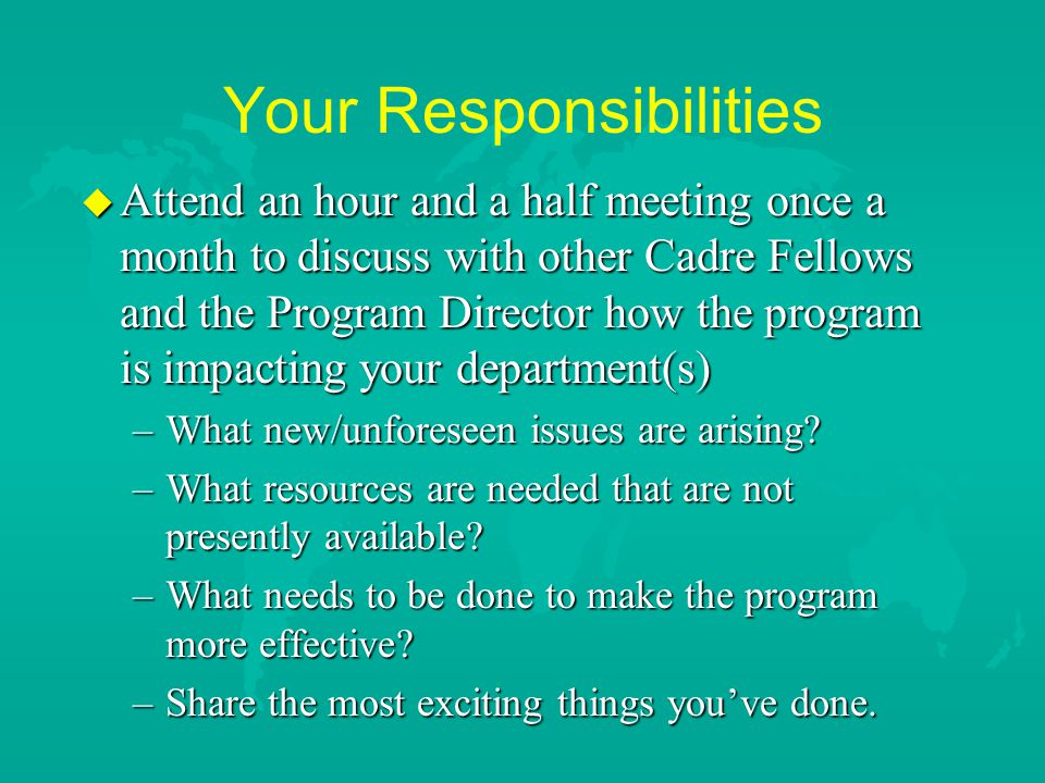 Your Responsibilities u Attend an hour and a half meeting once a month to discuss with other Cadre Fellows and the Program Director how the program is impacting your department(s) –What new/unforeseen issues are arising.