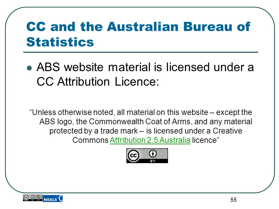 """55 CC and the Australian Bureau of Statistics ABS website material is licensed under a CC Attribution Licence: """"Unless otherwise noted, all material o"""