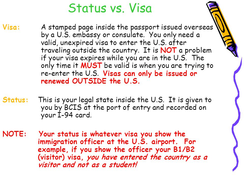 Status vs. Visa Visa:A stamped page inside the passport issued overseas by a U.S.