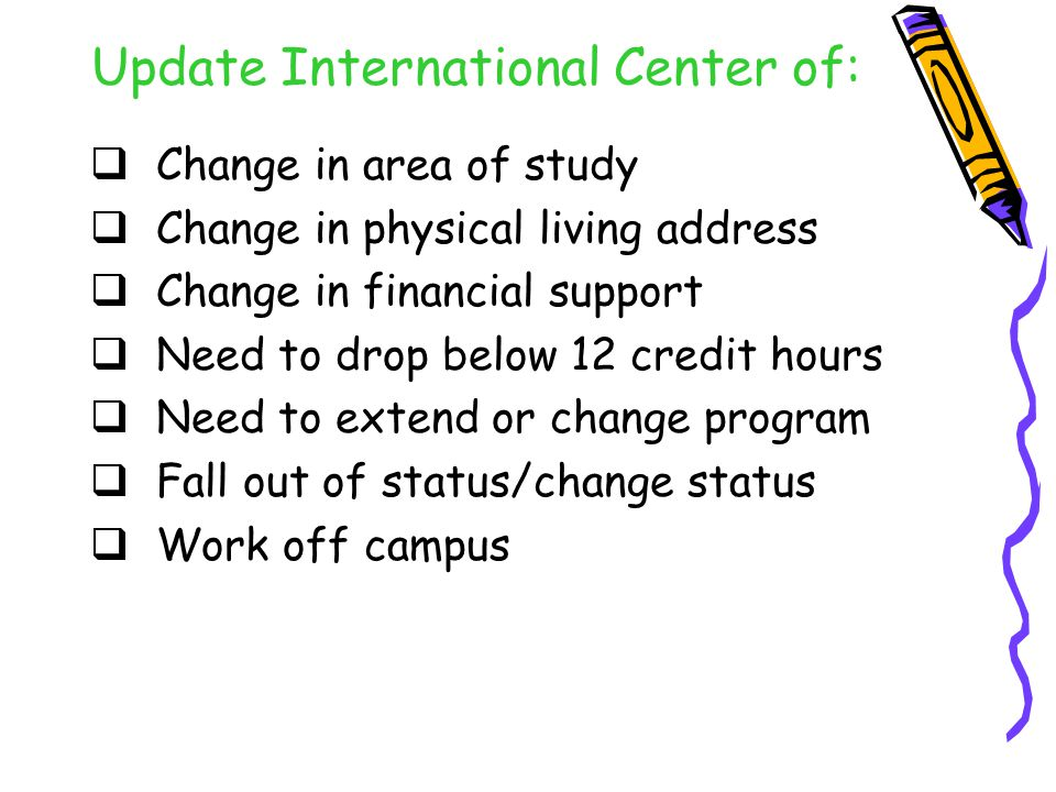 Update International Center of:  Change in area of study  Change in physical living address  Change in financial support  Need to drop below 12 credit hours  Need to extend or change program  Fall out of status/change status  Work off campus