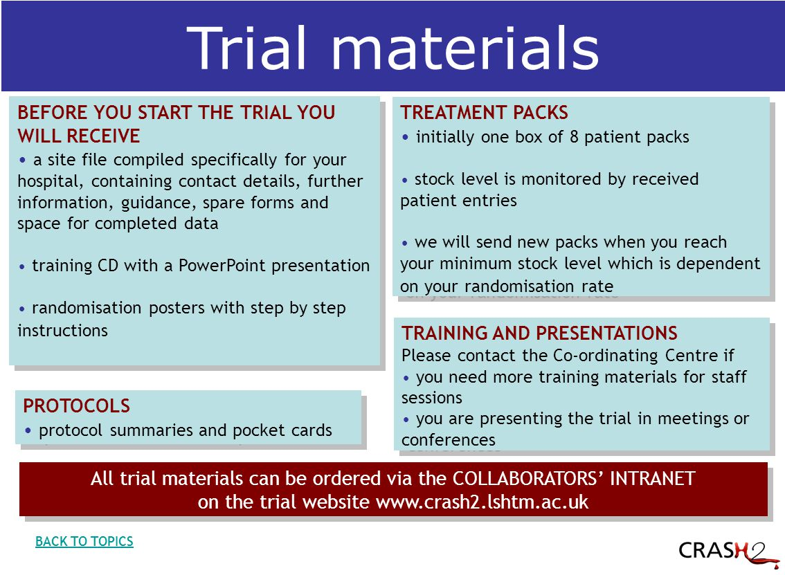 Trial materials BACK TO TOPICS BEFORE YOU START THE TRIAL YOU WILL RECEIVE a site file compiled specifically for your hospital, containing contact details, further information, guidance, spare forms and space for completed data training CD with a PowerPoint presentation randomisation posters with step by step instructions BEFORE YOU START THE TRIAL YOU WILL RECEIVE a site file compiled specifically for your hospital, containing contact details, further information, guidance, spare forms and space for completed data training CD with a PowerPoint presentation randomisation posters with step by step instructions TREATMENT PACKS initially one box of 8 patient packs stock level is monitored by received patient entries we will send new packs when you reach your minimum stock level which is dependent on your randomisation rate TREATMENT PACKS initially one box of 8 patient packs stock level is monitored by received patient entries we will send new packs when you reach your minimum stock level which is dependent on your randomisation rate PROTOCOLS protocol summaries and pocket cards PROTOCOLS protocol summaries and pocket cards TRAINING AND PRESENTATIONS Please contact the Co-ordinating Centre if you need more training materials for staff sessions you are presenting the trial in meetings or conferences TRAINING AND PRESENTATIONS Please contact the Co-ordinating Centre if you need more training materials for staff sessions you are presenting the trial in meetings or conferences All trial materials can be ordered via the COLLABORATORS' INTRANET on the trial website www.crash2.lshtm.ac.uk All trial materials can be ordered via the COLLABORATORS' INTRANET on the trial website www.crash2.lshtm.ac.uk