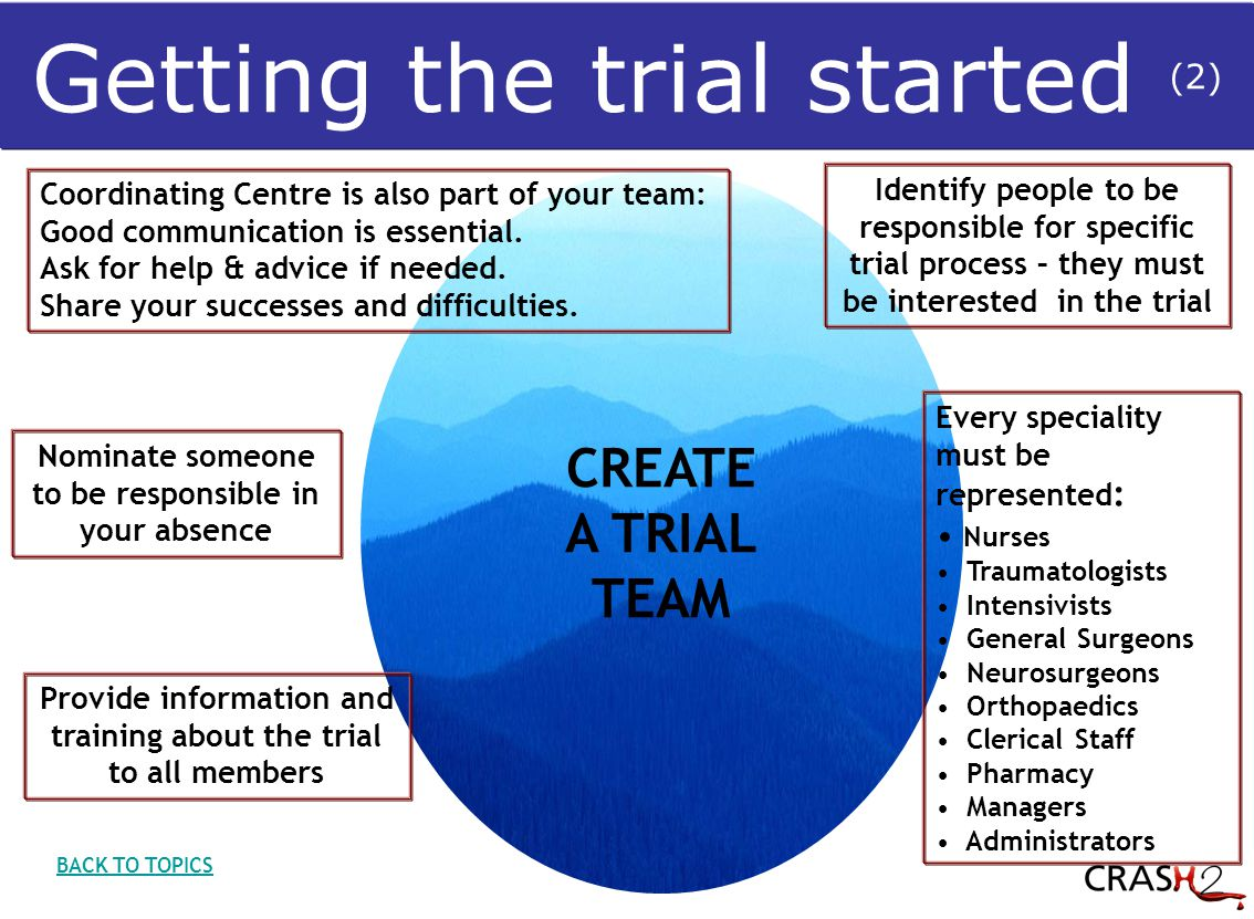 CREATE A TRIAL TEAM Nominate someone to be responsible in your absence Identify people to be responsible for specific trial process – they must be interested in the trial Every speciality must be represented : Nurses Traumatologists Intensivists General Surgeons Neurosurgeons Orthopaedics Clerical Staff Pharmacy Managers Administrators Coordinating Centre is also part of your team: Good communication is essential.