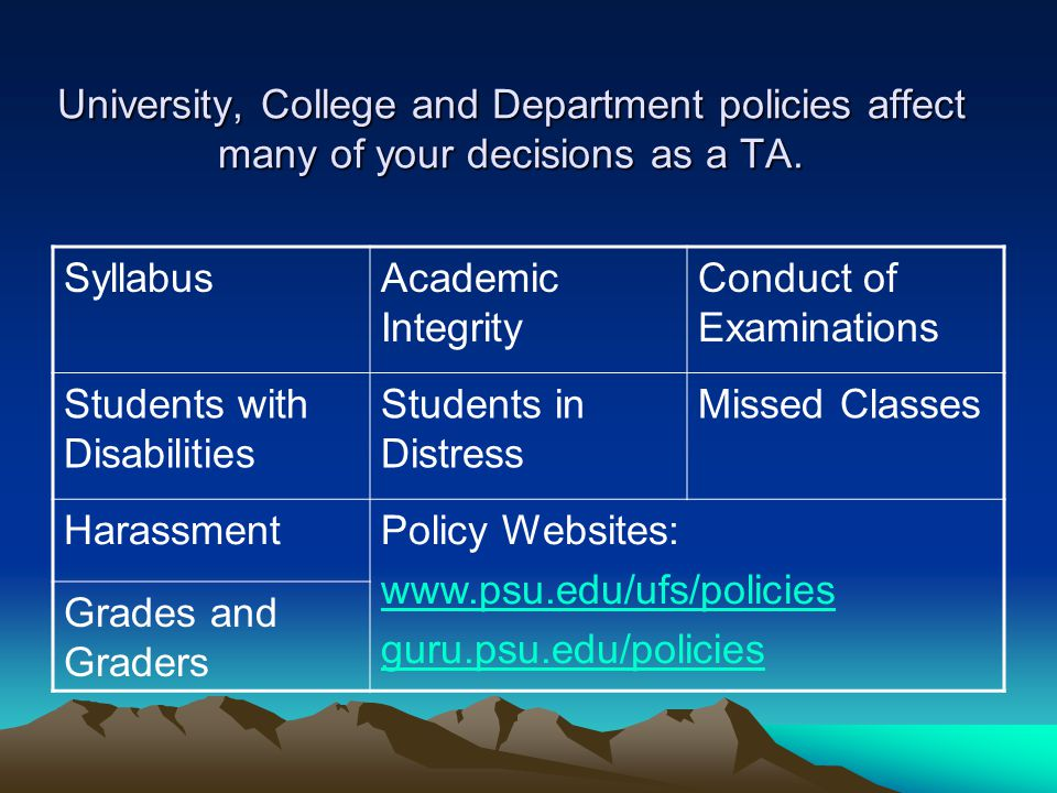 University, College and Department policies affect many of your decisions as a TA. SyllabusAcademic Integrity Conduct of Examinations Students with Di