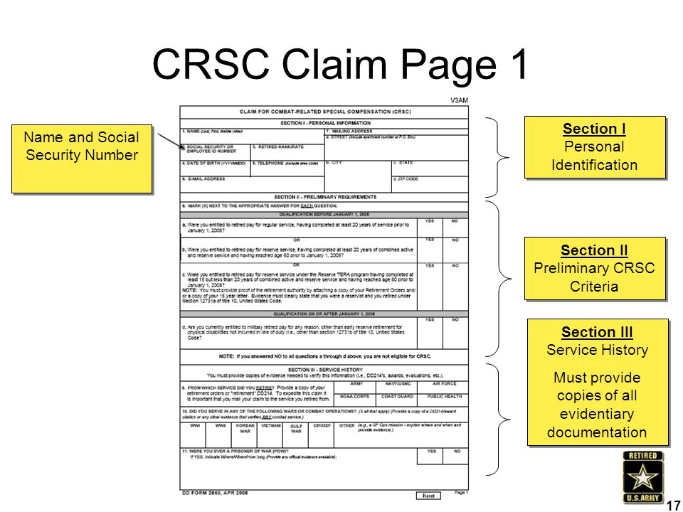 CRSC Claim Page 1 Section I Personal Identification Section II Preliminary CRSC Criteria Section III Service History Must provide copies of all eviden