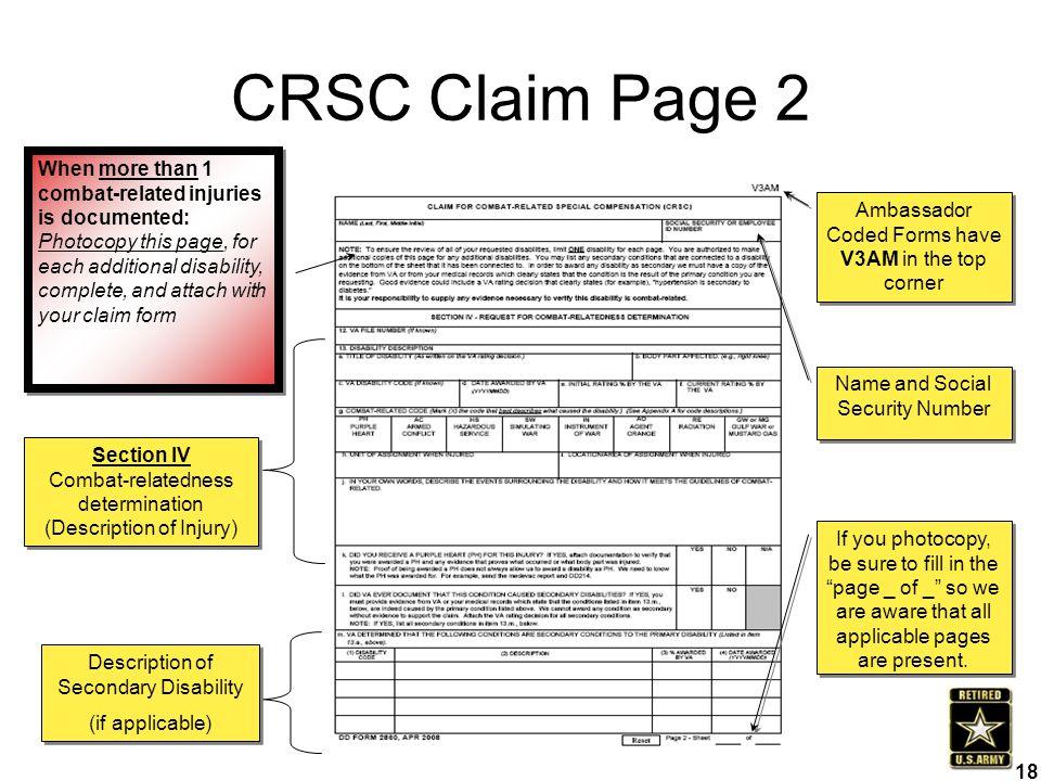 18 CRSC Claim Page 2 Description of Secondary Disability (if applicable) Description of Secondary Disability (if applicable) Section IV Combat-related