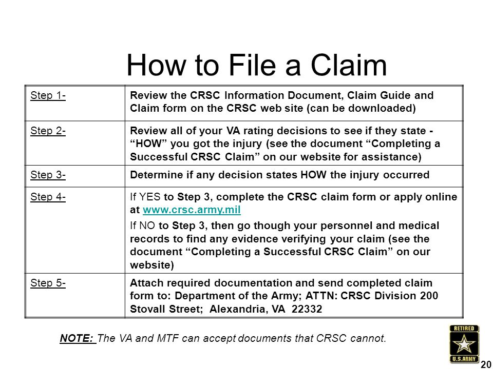 Step 1-Review the CRSC Information Document, Claim Guide and Claim form on the CRSC web site (can be downloaded) Step 2-Review all of your VA rating d