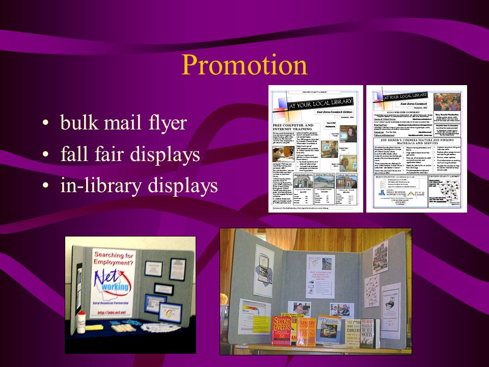 Promotion bulk mail flyer fall fair displays in-library displays