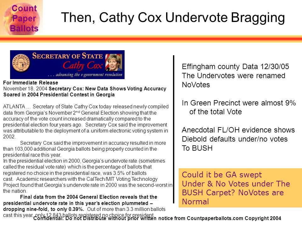 Confidential: Do not Distribute without prior written notice from Countpaperballots.com Copyright 2004 Count Paper Ballots Then, Cathy Cox Undervote Bragging For Immediate Release November 18, 2004 Secretary Cox: New Data Shows Voting Accuracy Soared in 2004 Presidential Contest in Georgia ATLANTA … Secretary of State Cathy Cox today released newly compiled data from Georgia's November 2 nd General Election showing that the accuracy of the vote count increased dramatically compared to the presidential election four years ago.