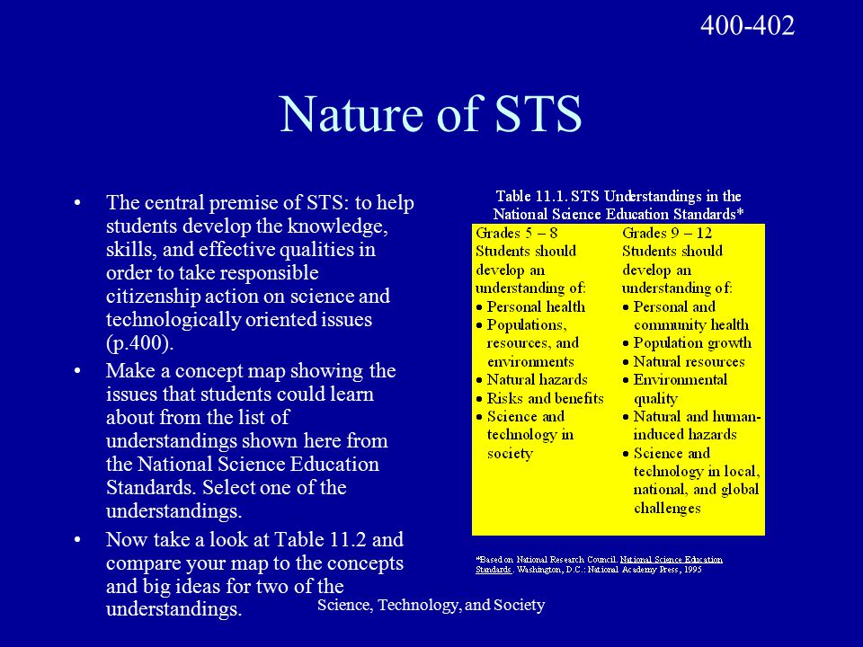 Science, Technology, and Society Nature of STS The central premise of STS: to help students develop the knowledge, skills, and effective qualities in order to take responsible citizenship action on science and technologically oriented issues (p.400).