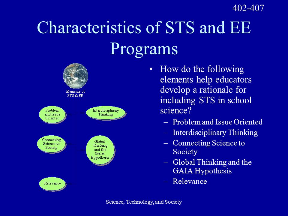 Science, Technology, and Society Characteristics of STS and EE Programs How do the following elements help educators develop a rationale for including STS in school science.