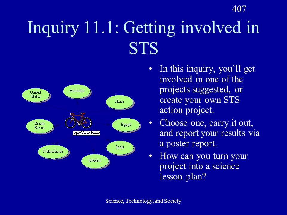Science, Technology, and Society Inquiry 11.1: Getting involved in STS In this inquiry, you'll get involved in one of the projects suggested, or create your own STS action project.