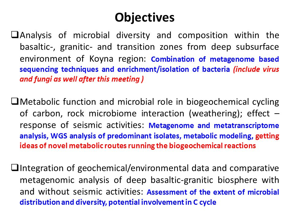 Objectives  Analysis of microbial diversity and composition within the basaltic-, granitic- and transition zones from deep subsurface environment of