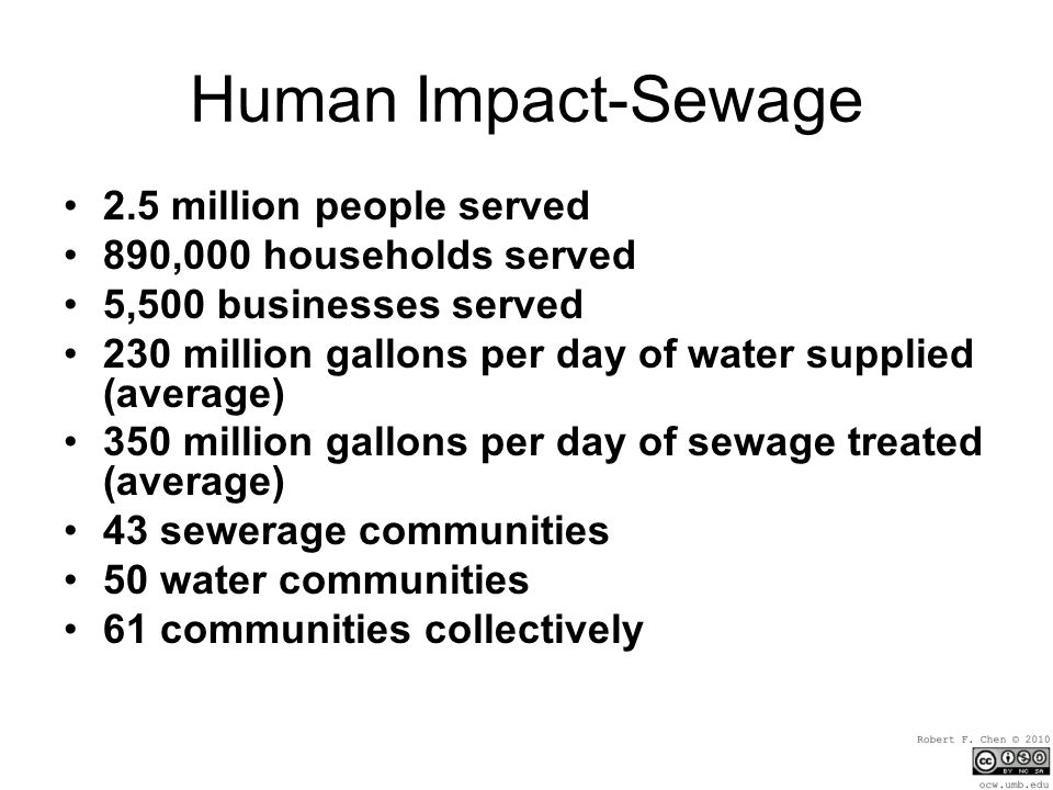 Human Impact-Sewage 2.5 million people served 890,000 households served 5,500 businesses served 230 million gallons per day of water supplied (average) 350 million gallons per day of sewage treated (average) 43 sewerage communities 50 water communities 61 communities collectively