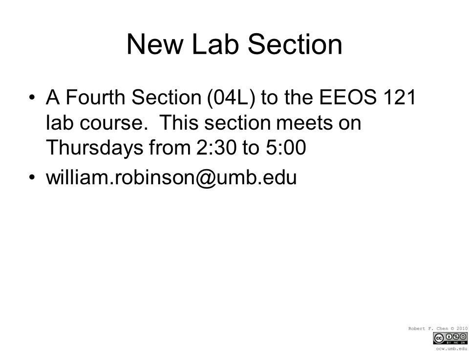 New Lab Section A Fourth Section (04L) to the EEOS 121 lab course.