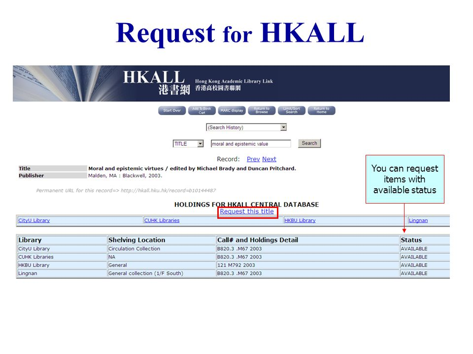 You can request items with available status Request for HKALL