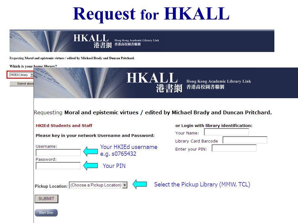 Your HKIEd username e.g. s0765432 Select the Pickup Library (MMW. TCL) Your PIN Request for HKALL