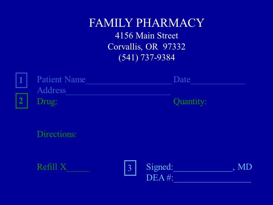 FAMILY PHARMACY 4156 Main Street Corvallis, OR 97332 (541) 737-9384 Patient Name___________________Date____________ Address_______________________ Drug:Quantity: Directions: Refill X_____Signed:_____________, MD DEA #:_________________ 1 2 3