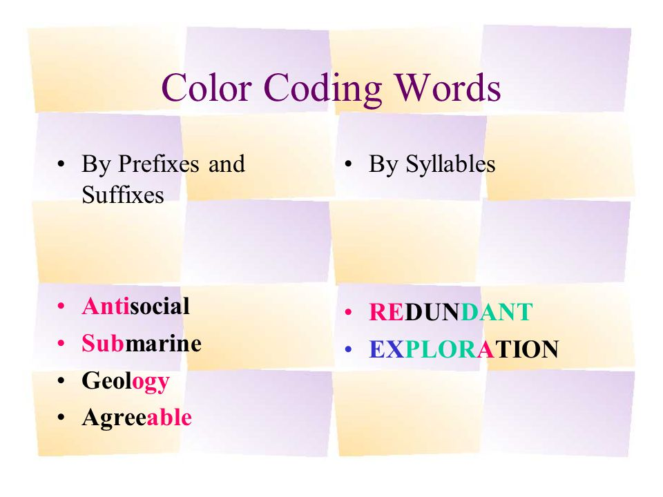 Color Coding Words By Prefixes and Suffixes Antisocial Submarine Geology Agreeable By Syllables REDUNDANT EXPLORATION