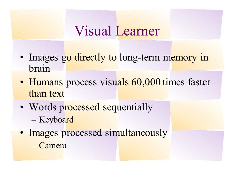 Visual Learner Images go directly to long-term memory in brain Humans process visuals 60,000 times faster than text Words processed sequentially –Keyboard Images processed simultaneously –Camera