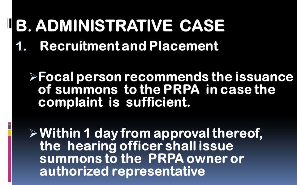 B. ADMINISTRATIVE CASE 1.
