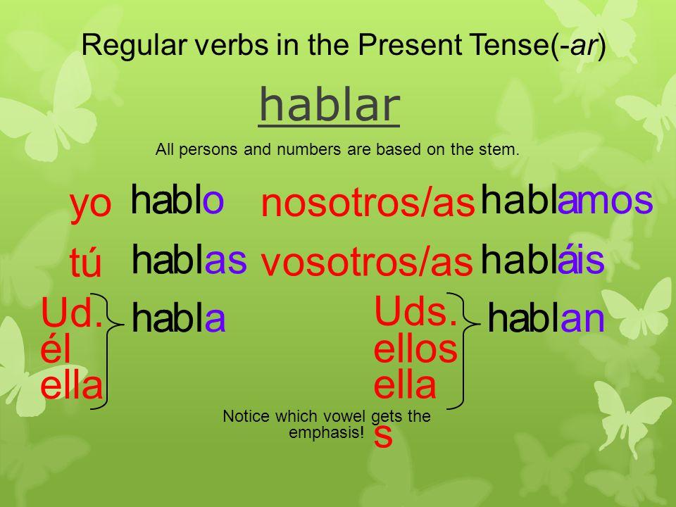 a hablar ahbloa ah asa ahblaa hablmosa áhablisá ahblana Regular verbs in the Present Tense(-ar) All persons and numbers are based on the stem.
