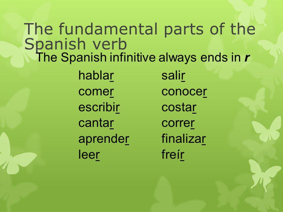 hablar comer escribir cantar aprender leer salir conocer costar correr finalizar freír The fundamental parts of the Spanish verb