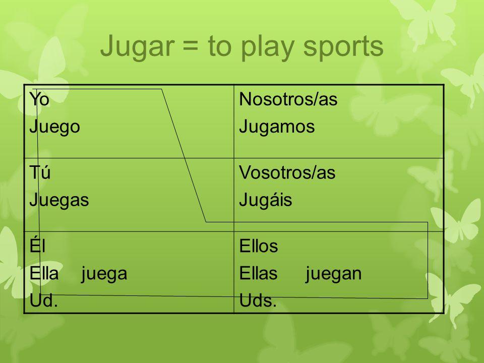 Jugar = to play sports Yo Juego Nosotros/as Jugamos Tú Juegas Vosotros/as Jugáis Él Ella juega Ud.