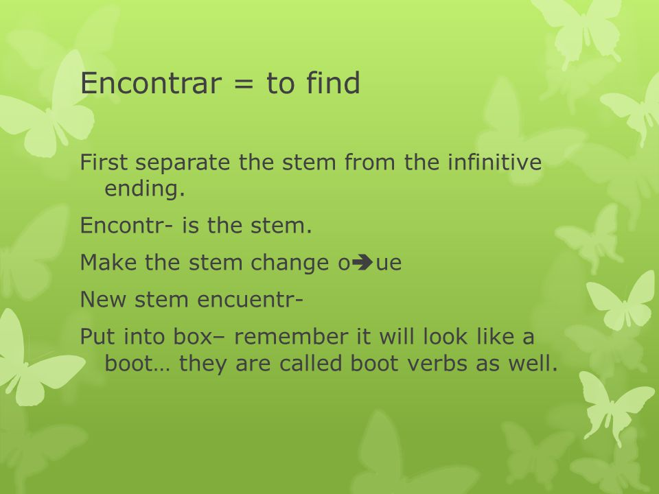 Encontrar = to find First separate the stem from the infinitive ending.