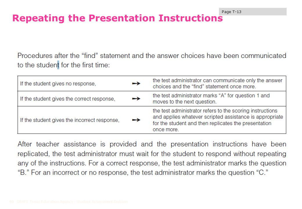 Repeating the Presentation Instructions DRAFT Texas Education Agency - Student Assessment Division40 Page T-13