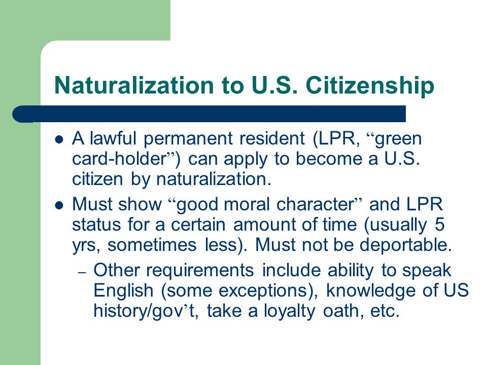 Naturalization to U.S.