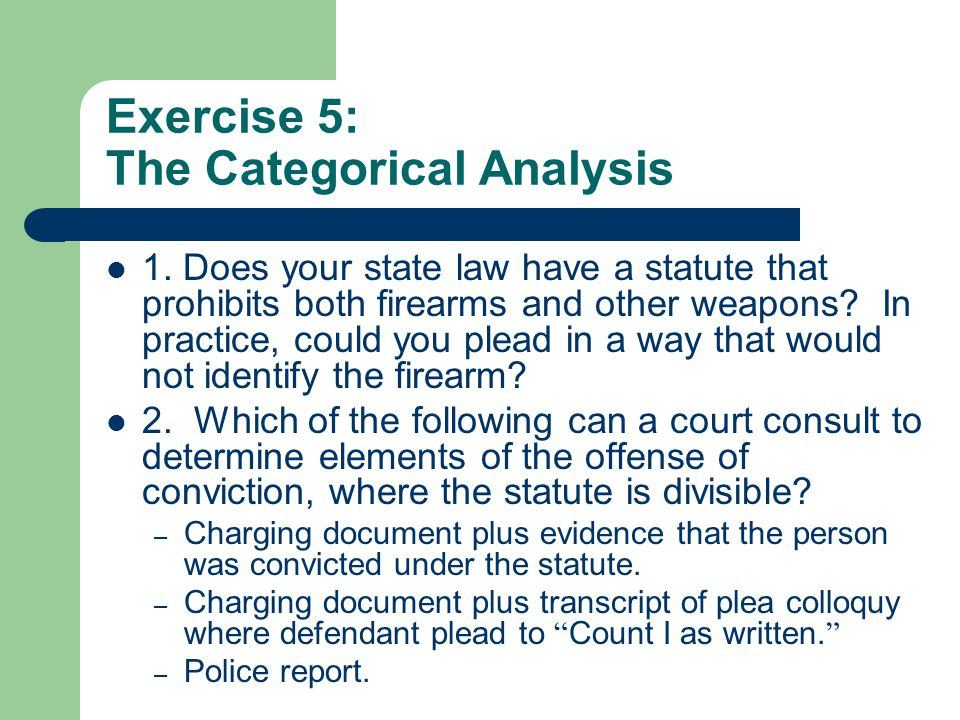 Exercise 5: The Categorical Analysis 1.