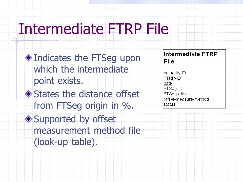 Intermediate FTRP File Indicates the FTSeg upon which the intermediate point exists. States the distance offset from FTSeg origin in %. Supported by o