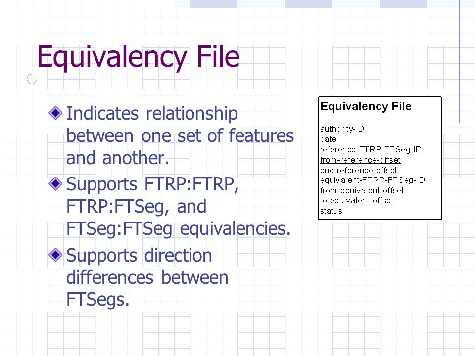Equivalency File Indicates relationship between one set of features and another. Supports FTRP:FTRP, FTRP:FTSeg, and FTSeg:FTSeg equivalencies. Suppor