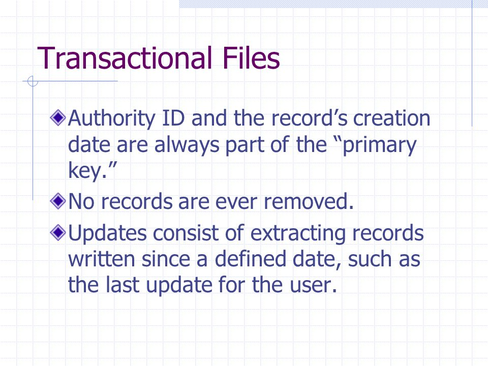 Transactional Files Authority ID and the record's creation date are always part of the primary key. No records are ever removed.
