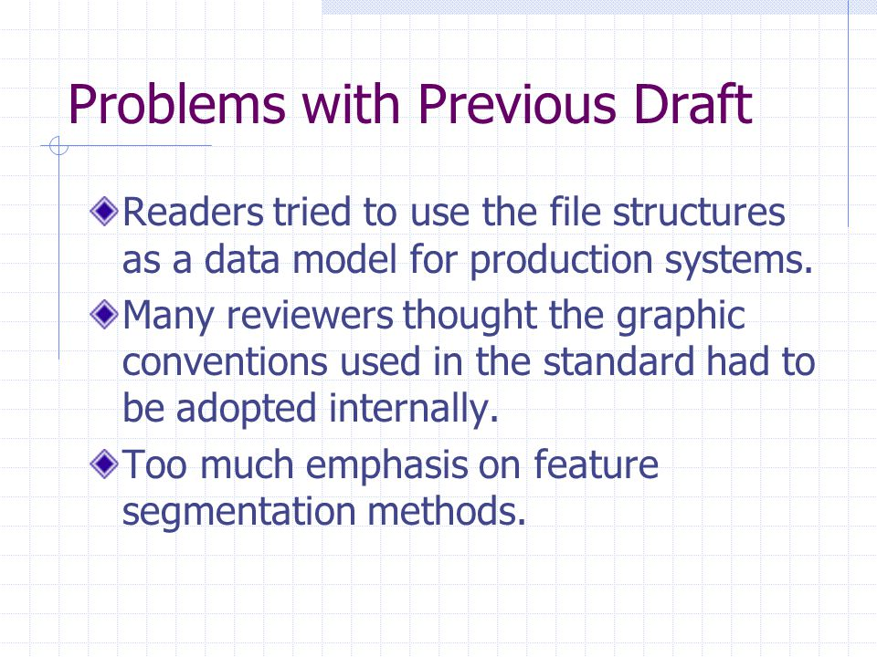 Problems with Previous Draft Readers tried to use the file structures as a data model for production systems. Many reviewers thought the graphic conve