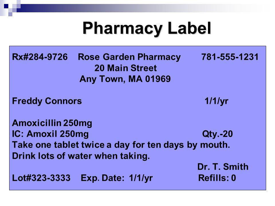 Rx#284-9726 Rose Garden Pharmacy 781-555-1231 20 Main Street Any Town, MA 01969 Freddy Connors 1/1/yr Amoxicillin 250mg IC: Amoxil 250mg Qty.-20 Take