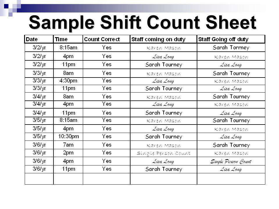 Sample Shift Count Sheet