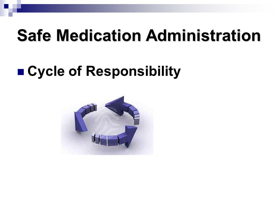 Safe Medication Administration Cycle of Responsibility