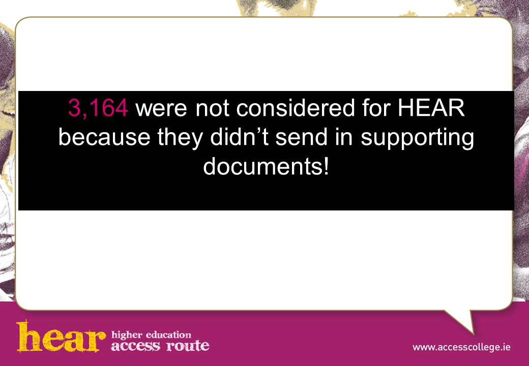 3,164 were not considered for HEAR because they didn't send in supporting documents!