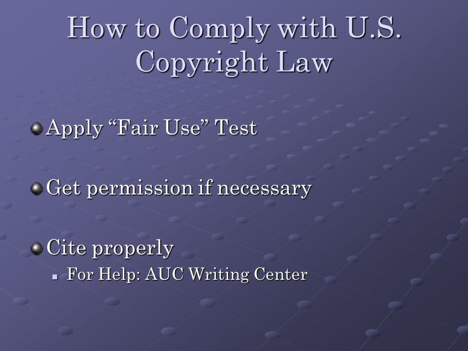 How to Comply with U.S.
