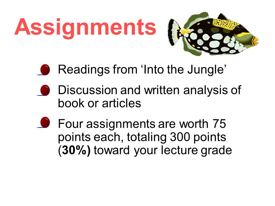 Assignments Readings from 'Into the Jungle' Discussion and written analysis of book or articles Four assignments are worth 75 points each, totaling 300 points (30%) toward your lecture grade