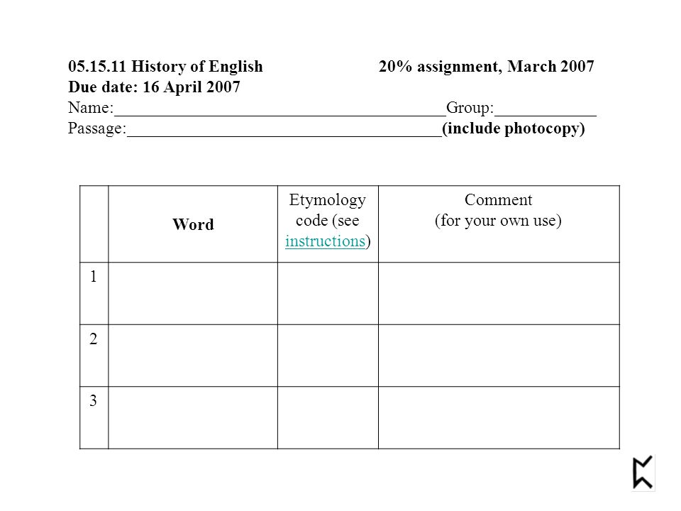 05.15.11 History of English 20% assignment, March 2007 Due date: 16 April 2007 Name:_______________________________________Group:____________ Passage:_____________________________________(include photocopy) Word Etymology code (see instructions) instructions Comment (for your own use) 1 2 3