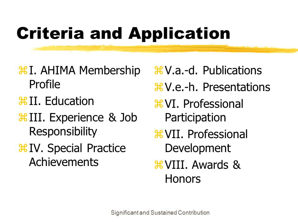 Significant and Sustained Contribution Criteria and Application zI.