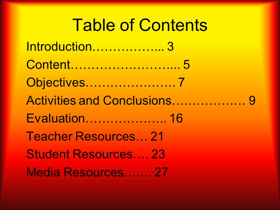 Table of Contents Introduction……………... 3 Content……………………...