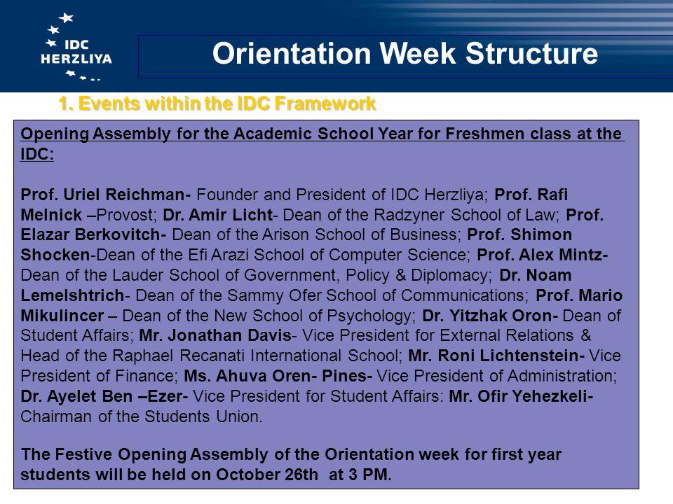 Orientation Week Structure 1.