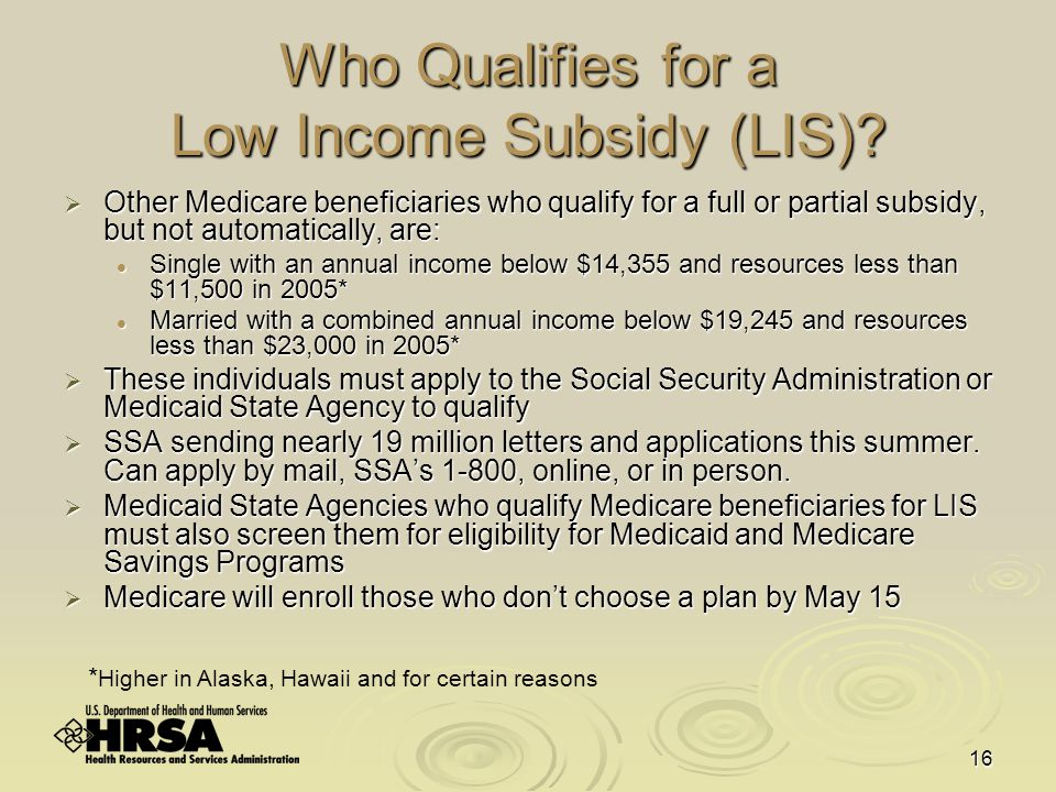 16 Who Qualifies for a Low Income Subsidy (LIS).