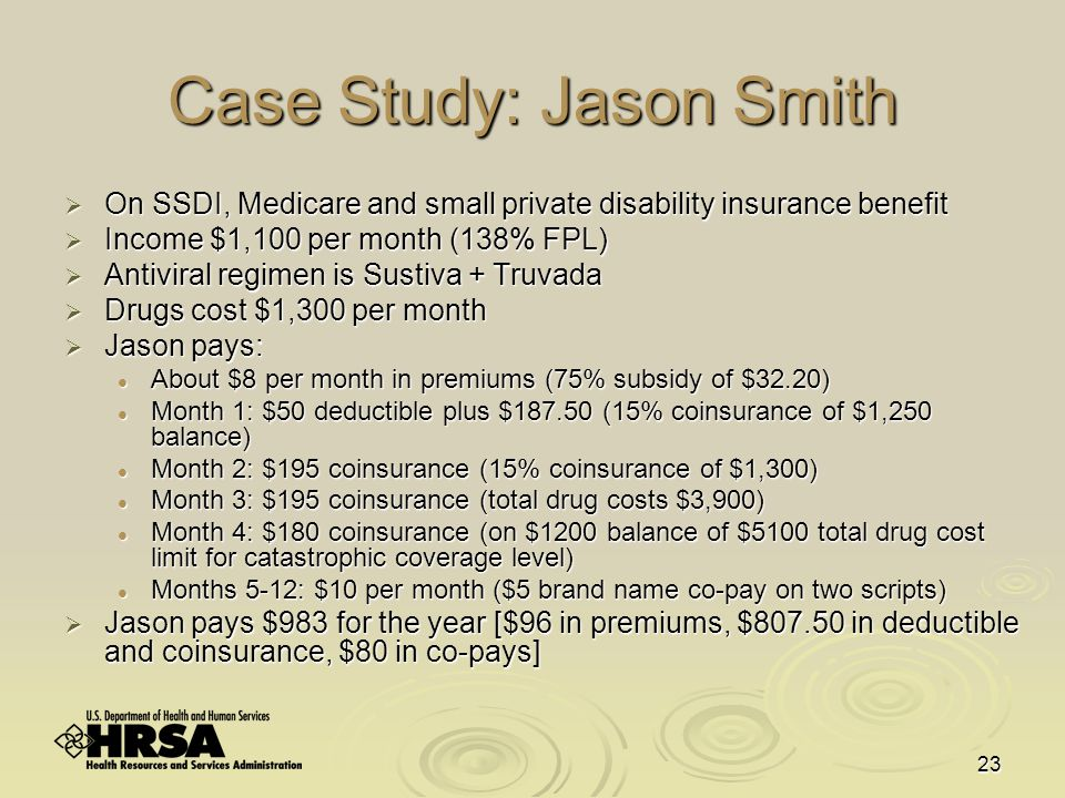 23 Case Study: Jason Smith  On SSDI, Medicare and small private disability insurance benefit  Income $1,100 per month (138% FPL)  Antiviral regimen is Sustiva + Truvada  Drugs cost $1,300 per month  Jason pays: About $8 per month in premiums (75% subsidy of $32.20) About $8 per month in premiums (75% subsidy of $32.20) Month 1: $50 deductible plus $187.50 (15% coinsurance of $1,250 balance) Month 1: $50 deductible plus $187.50 (15% coinsurance of $1,250 balance) Month 2: $195 coinsurance (15% coinsurance of $1,300) Month 2: $195 coinsurance (15% coinsurance of $1,300) Month 3: $195 coinsurance (total drug costs $3,900) Month 3: $195 coinsurance (total drug costs $3,900) Month 4: $180 coinsurance (on $1200 balance of $5100 total drug cost limit for catastrophic coverage level) Month 4: $180 coinsurance (on $1200 balance of $5100 total drug cost limit for catastrophic coverage level) Months 5-12: $10 per month ($5 brand name co-pay on two scripts) Months 5-12: $10 per month ($5 brand name co-pay on two scripts)  Jason pays $983 for the year [$96 in premiums, $807.50 in deductible and coinsurance, $80 in co-pays]